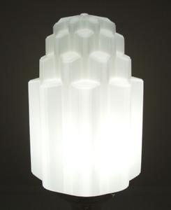 1930's 3-1/4'' FITTER ART DECO SKYSCRAPER MILK GLASS SHADE