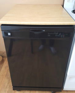 Portable Black Kenmore Dishwasher with Butcher Block Top