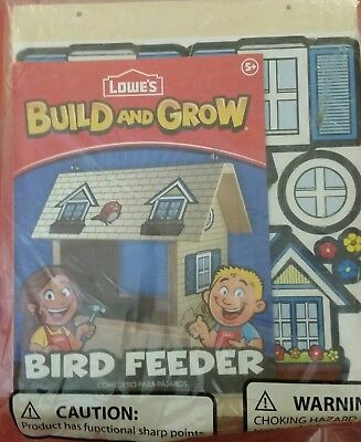 "Lowe's Build and Grow wooden ""BIRD FEEDER"" kit. with PATCH Lots of fun for all."
