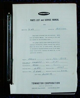 Towmotor Forklift Parts List  Service Manual Model Lt50 Lt56