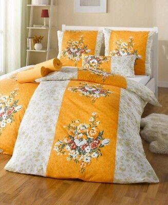 4-tlg. BETTWÄSCHE 80x80+155x220 + 2x SPANNBETT-LAKEN orange-weiss-grün JERSEY
