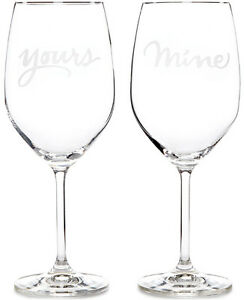 "KATE SPADE BRAND NEW ""YOURS & MINE"" WINE GLASSES"
