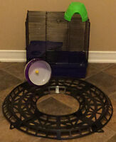 Hamster cage, dome, wheel, track for exercise ball