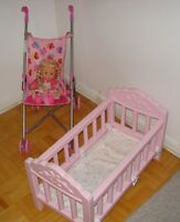 Pink Doll Crib and Stroller (Elora)