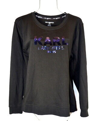 Karl Lagerfeld Paris Women's L French Black Sequin Sweatshirt Top Pullover NWT