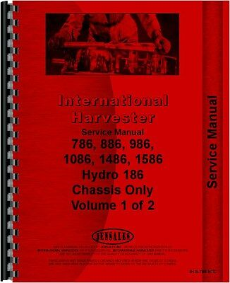 Ih International Service Manual 786 886 986 1086 1486 1586 Hydro 186 Chassis