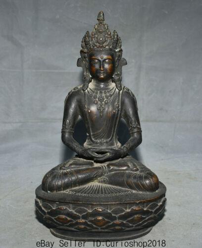 "13.6"" Antique Tibet Buddhism Bronze Amitayus longevity God Goddess Buddha Statue"