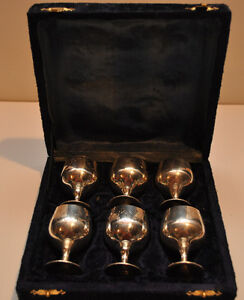 6 Silver goblets in case