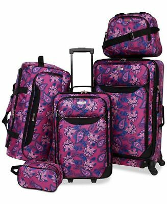 $200 TAG Travel Springfield III Print 5 Piece Set Suitcase Luggage Purple Floral