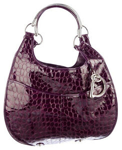 Dior 61 Patent Leather purple bag Embossed Crocodile