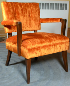 Vintage 1950s Armchair with New Crushed Velvet Upholstery