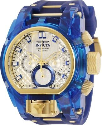 Invicta Mens Reserve 52mm Bolt Zeus Magnum Gold-Tone Blue Dual Dial Strap Watch