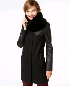 Laundry by Shelli Segal Faux Leather Sleeve coat with faux fur