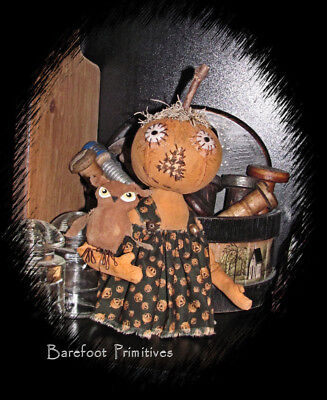 Primitive Fall Halloween Pumpkin stump Doll Eleanor Owl make do Paper Patten - Owl Halloween Pumpkin Patterns