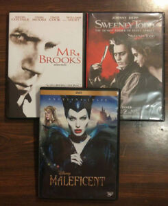 3 DVDs Mr. Brooks, Sweeney Todd, Maleficient