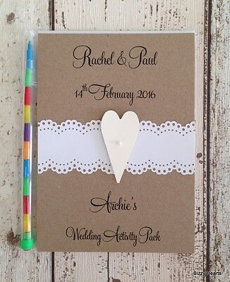 CHILDRENS PERSONALISED A6 WEDDING ACTIVITY PACK BOOK GIFT FAVOUR LACE / HEART