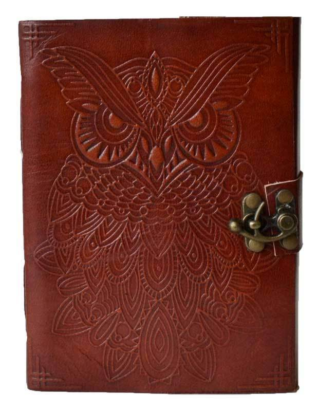 Owl Embossed 5x7 Leather Blank Book Journal Diary with Linen Parchment Pages