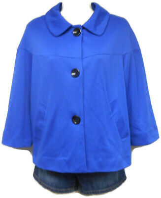 Women's Notations Blue 3/4 Sleeve Crop Jacket Size Large Regular Lined 3/4 Sleeve Crop Jacket