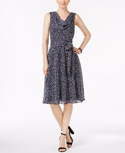 Jessica Howard Women's Drape Neck Fit and Flare Dress Size: 6