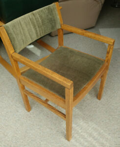 Arm Chair, nicely refinished hardwood and fabric $25