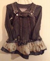 (094) robe salopette + chandail enfant 5 ans