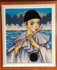 Needlepoint PIERROT CLOWN Picture (Flute Player) - Hand Stitched
