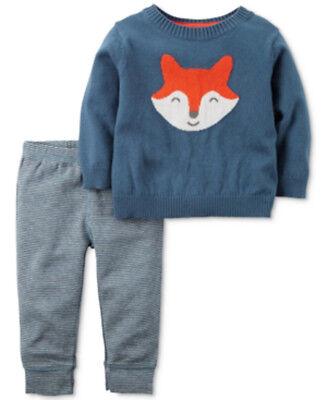 Carters Baby Boy Set Sweater Pants Knit Blue Green Gray Orange 3M 6M 12M 18M NWT