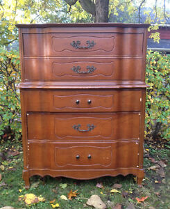 MID CENTURY FRENCH PROVINCIAL HIGHBOY DRESSER