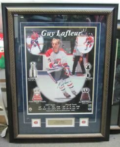 "Signed Guy Lafleur in Beautiful Frame 25"" x 33"""