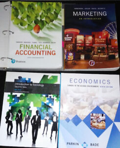 FINANCIAL ACCOUNTING, MARKETING, ECONOMICS, INTRO TO SOCIOLOGY