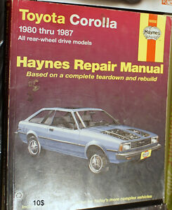 Haynes Repair Manual Toyota corolla 1980-1987 ae86