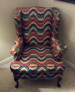 Flame Stitched Wing Back Chair For Sale!