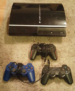 PS3 CONSOLE, 3 CONTROLLERS, 17 GAMES, $150