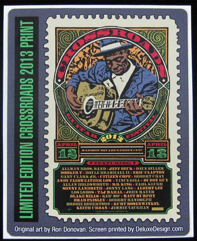 Original 2013 Crossroads Guitar Fest Sticker Clapton Beck Allman Bros Poster Art