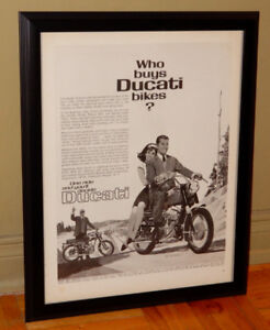 FRAMED ORIG. 1965 DUCATI MONZA MOTORCYCLE AD ANONCE VINTAGE MOTO