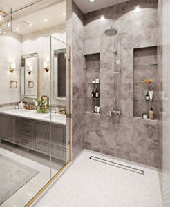 GOLD Hardware in Shower Glass!