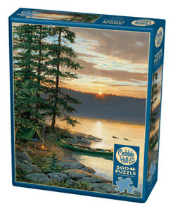 New sealed 500 piece Cobble Hill jigsaw puzzle canoe lake forest