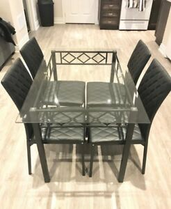 Glass table and chairs, dinette set