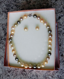 Unique freshwater pearl necklace with matching pierced earrings