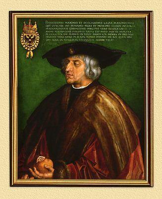PORTRÄT KAISER MAXIMILIAN I. 1519 von ALBRECHT DÜRER FAKSIMILE 20 im Goldrahmen