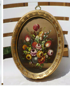 Vintage Framed FLORAL Oil Painting Under Glass - ITALY