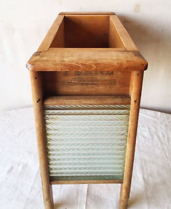 410: Wooden Planter With Unique Glass Washboard Supports