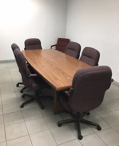 Boardroom Table with 6 Chairs & Wall Mount Whiteboard
