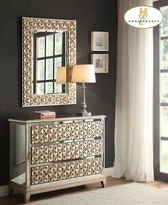 La Fleur bureau, mirrored with gold accents includes wall mirror