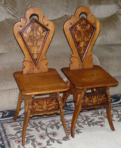 Antique Hall Chairs, Pair