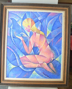 ABSTRACT OIL ON CANVAS NUDE PAINTING EXCELLENT