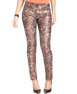 (PANTS Bronze Snake Metallic Print Skinny jeans 5 Pockets 36