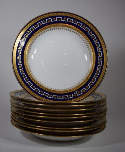10 Minton Cobalt Soup Bowls, Circa 1930, Made for Callomore & Co