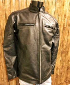 Men's Vintage Genuine Leather Jacket Slim Fit Handmade  XS-3XL