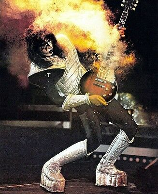 KISS - ACE FREHLEY SMOKING GUITAR BAND ROCK CONCERT GLOSSY 8x10 PHOTO PICTURE